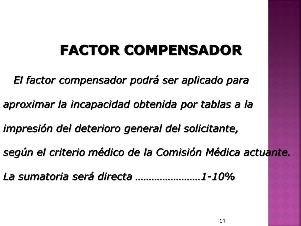 FACTOR COMPENSADOR El factor compensador podrá ser aplicado para El factor compensador podrá ser aplicado para aproximar la incapacidad obtenida por t