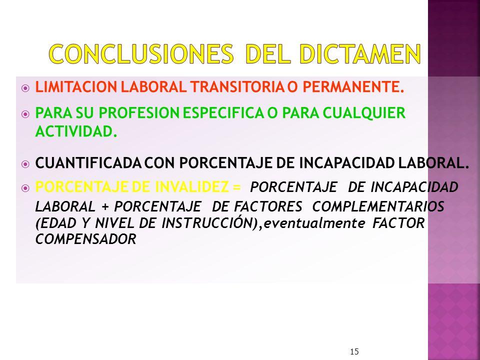 LIMITACION LABORAL TRANSITORIA O PERMANENTE. PARA SU PROFESION ESPECIFICA O PARA CUALQUIER ACTIVIDAD. CUANTIFICADA CON PORCENTAJE DE INCAPACIDAD LABOR