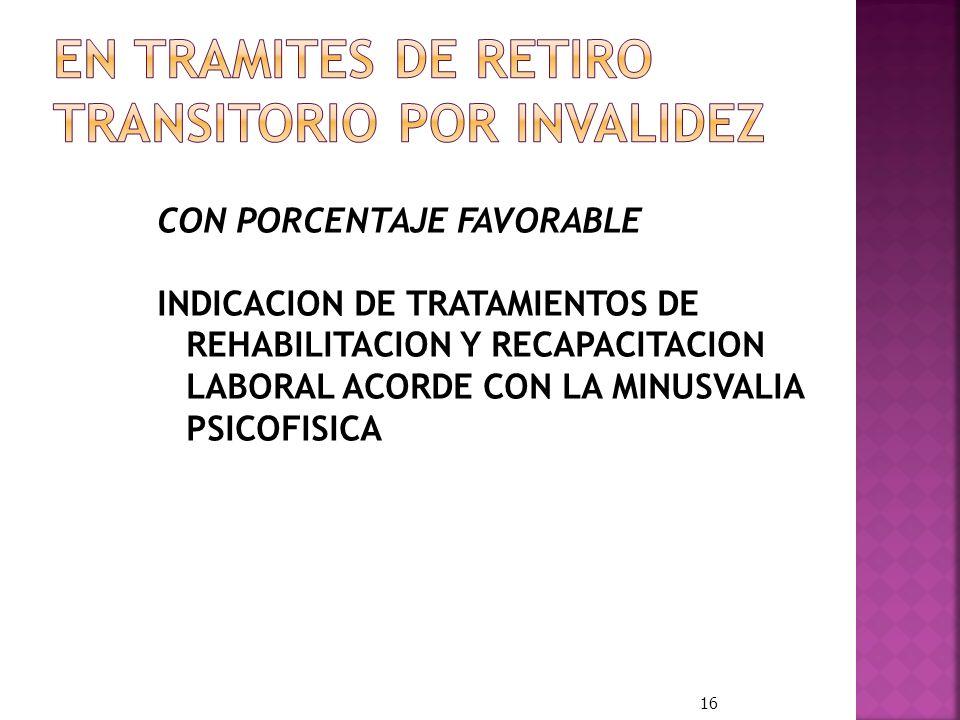 CON PORCENTAJE FAVORABLE INDICACION DE TRATAMIENTOS DE REHABILITACION Y RECAPACITACION LABORAL ACORDE CON LA MINUSVALIA PSICOFISICA 16