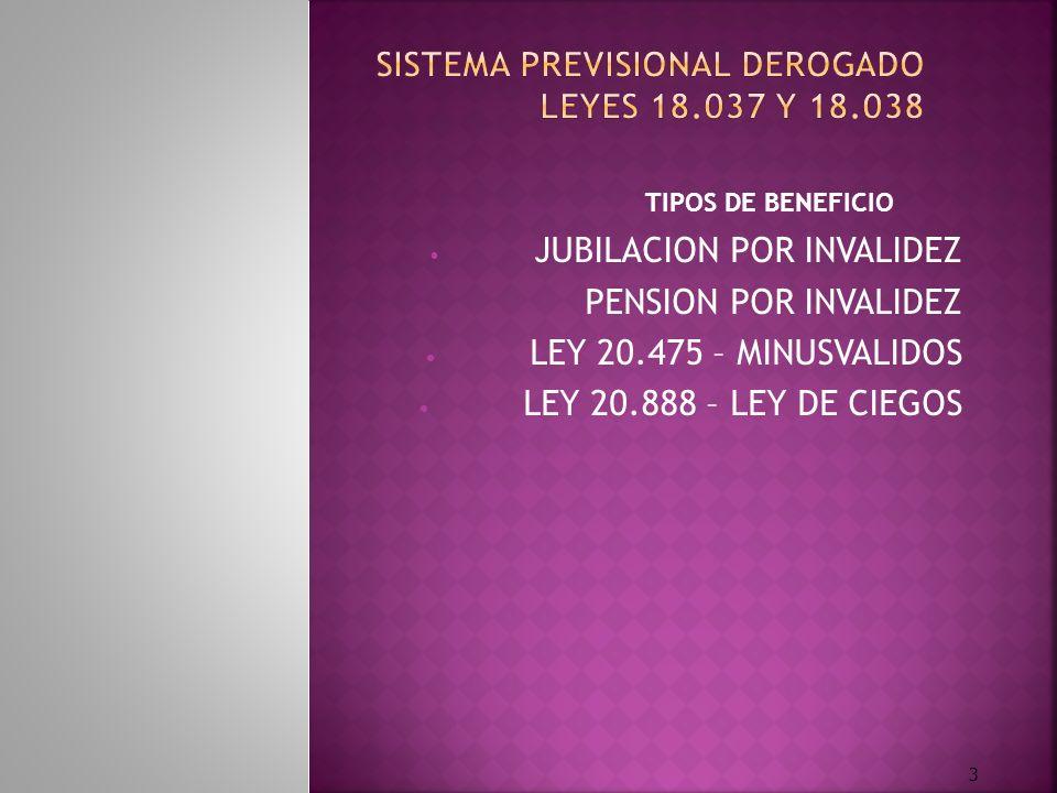 MEDICINA PREVISIONAL Y TRAMITES EN VIGENCIA DE LA LEY PREVISIONAL 24.241 RETIROS POR INVALIDEZ RETIROS POR INVALIDEZ PENSION POR FALLECIMIENTO PENSION POR FALLECIMIENTO PRESTACION POR EDAD AVANZADA PRESTACION POR EDAD AVANZADA LEY N° 20.475 DE MINUSVALIDOS LEY N° 20.475 DE MINUSVALIDOS LEY N° 20.888 DE CIEGOS LEY N° 20.888 DE CIEGOS DETERMINACIÓN DE INCAPACIDAD DEL DERECHO - HABIENTE DETERMINACIÓN DE INCAPACIDAD DEL DERECHO - HABIENTE 4