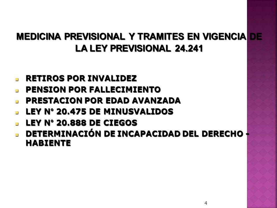 MEDICINA PREVISIONAL Y TRAMITES EN VIGENCIA DE LA LEY PREVISIONAL 24.241 RETIROS POR INVALIDEZ RETIROS POR INVALIDEZ PENSION POR FALLECIMIENTO PENSION