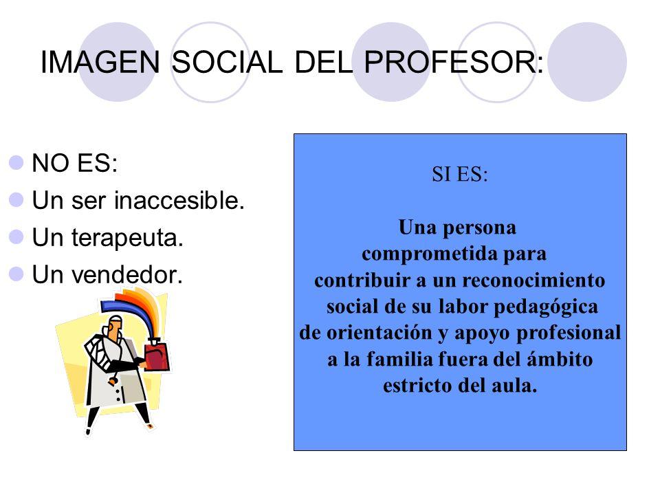 IMAGEN SOCIAL DEL PROFESOR: NO ES: Un ser inaccesible. Un terapeuta. Un vendedor. SI ES: Una persona comprometida para contribuir a un reconocimiento