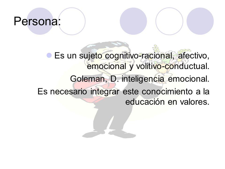 Persona: Es un sujeto cognitivo-racional, afectivo, emocional y volitivo-conductual. Goleman, D. inteligencia emocional. Es necesario integrar este co