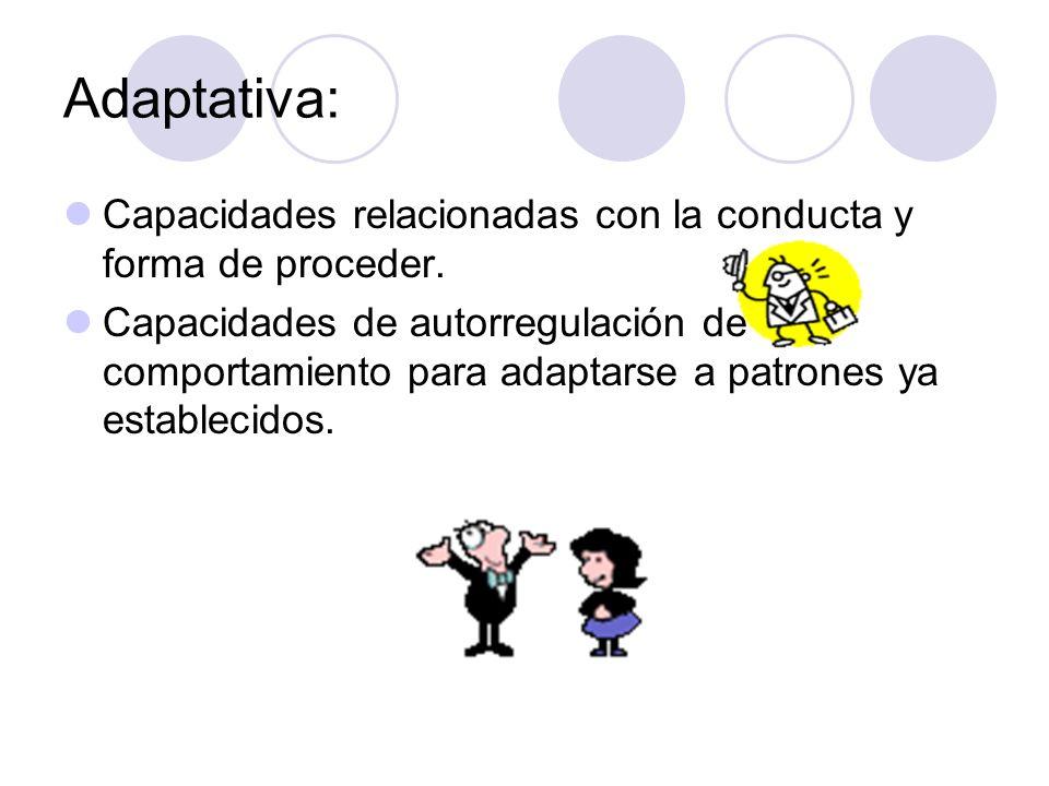 Adaptativa: Capacidades relacionadas con la conducta y forma de proceder. Capacidades de autorregulación de comportamiento para adaptarse a patrones y