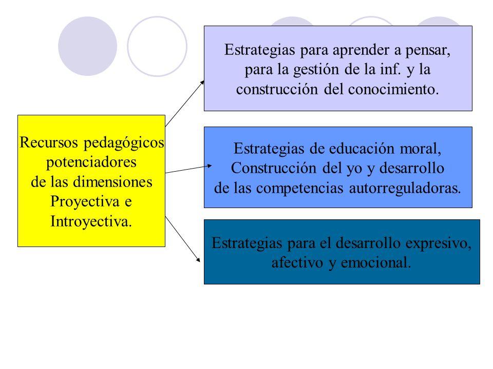 Recursos pedagógicos potenciadores de las dimensiones Proyectiva e Introyectiva. Estrategias para aprender a pensar, para la gestión de la inf. y la c