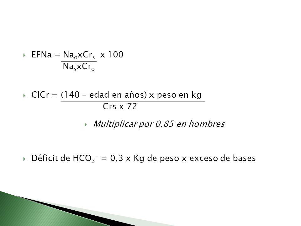 EFNa = Na o xCr s x 100 Na s xCr o ClCr = (140 - edad en años) x peso en kg Crs x 72 Multiplicar por 0,85 en hombres Déficit de HCO 3 - = 0,3 x Kg de