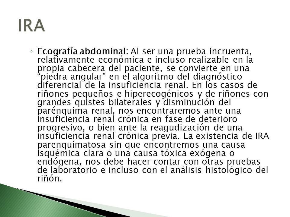 Ecografía abdominal: Al ser una prueba incruenta, relativamente económica e incluso realizable en la propia cabecera del paciente, se convierte en una