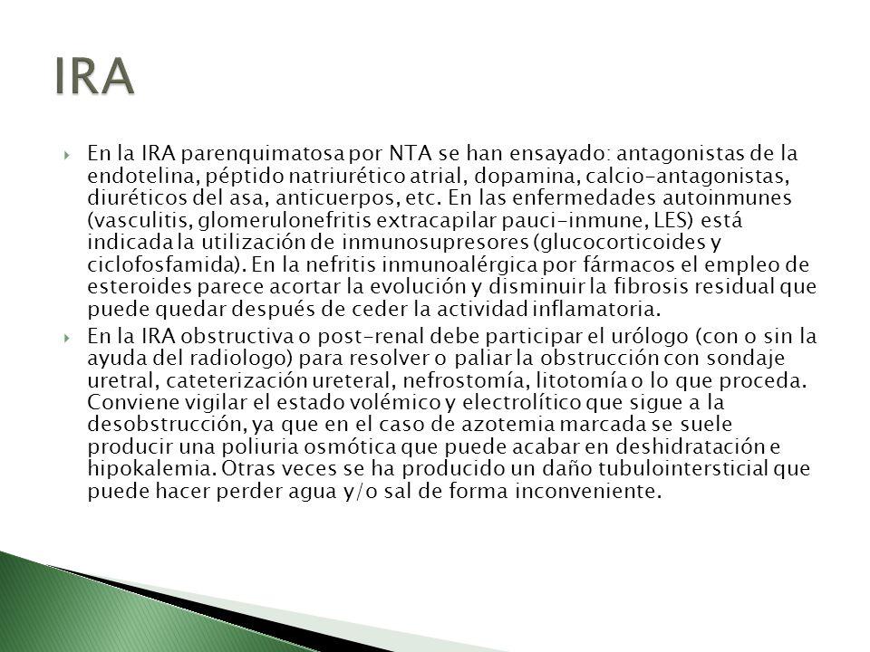 En la IRA parenquimatosa por NTA se han ensayado: antagonistas de la endotelina, péptido natriurético atrial, dopamina, calcio-antagonistas, diurético