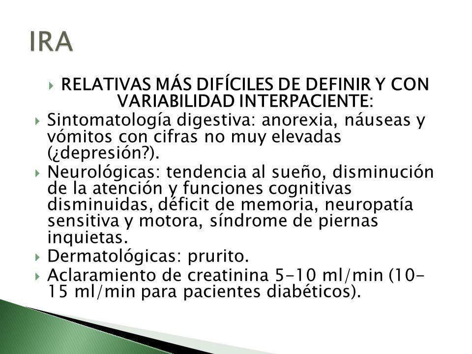 RELATIVAS MÁS DIFÍCILES DE DEFINIR Y CON VARIABILIDAD INTERPACIENTE: Sintomatología digestiva: anorexia, náuseas y vómitos con cifras no muy elevadas