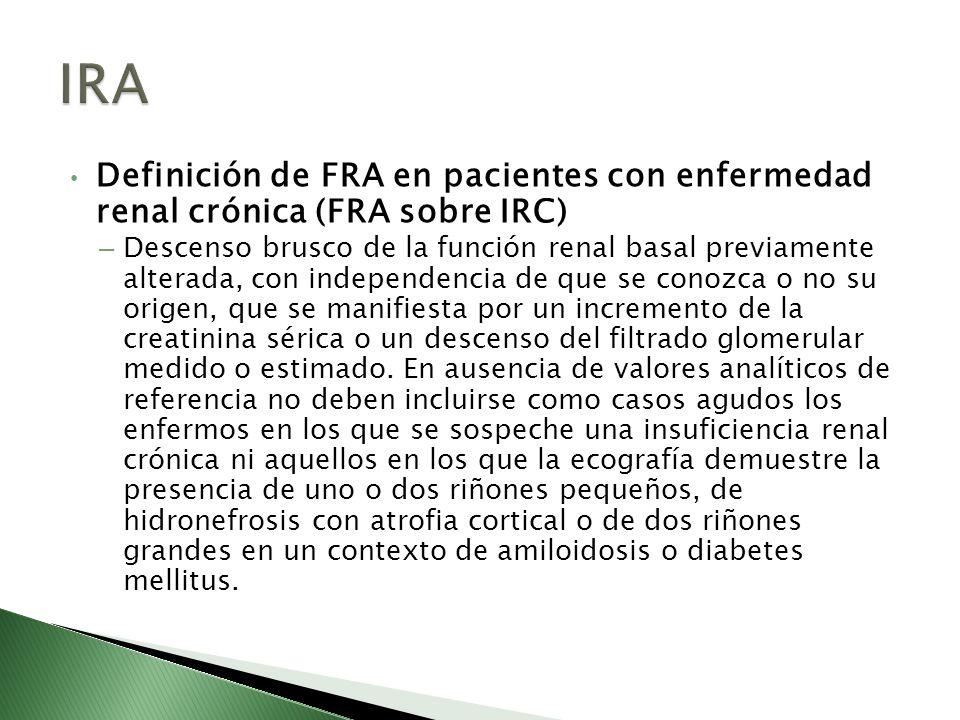 Definición de FRA en pacientes con enfermedad renal crónica (FRA sobre IRC) – Descenso brusco de la función renal basal previamente alterada, con inde