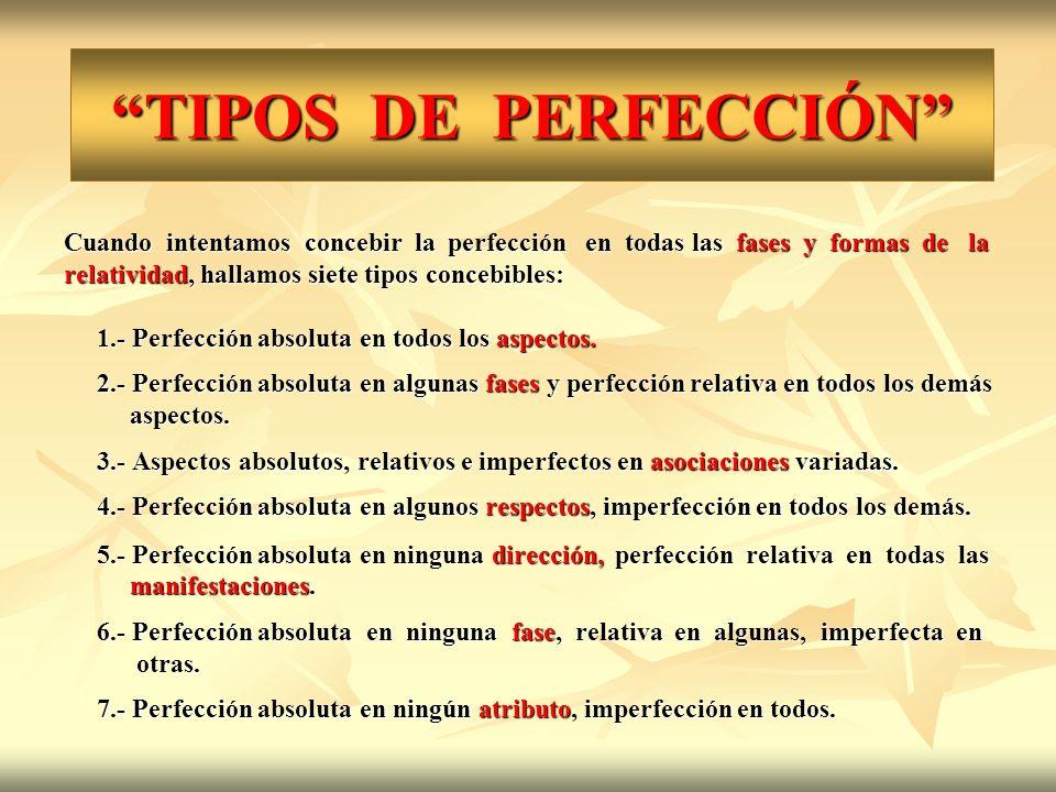 TIPOS DE PERFECCIÓN Cuando intentamos concebir la perfección en todas las fases y formas de la relatividad, hallamos siete tipos concebibles: 1.- Perf