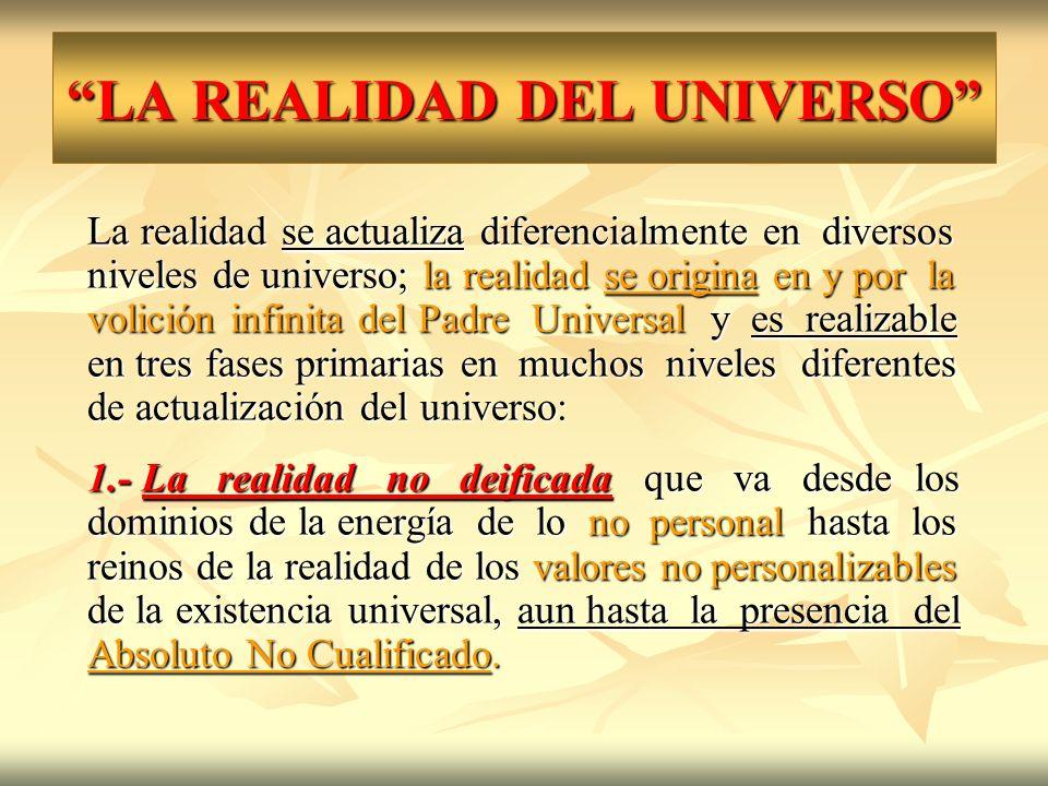 LA REALIDAD DEL UNIVERSO La realidad se actualiza diferencialmente en diversos niveles de universo; la realidad se origina en y por la volición infini