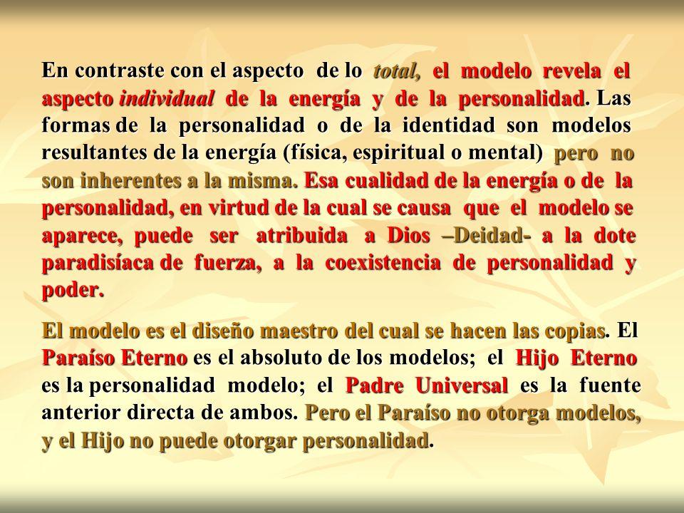 En contraste con el aspecto de lo total, el modelo revela el aspecto individual de la energía y de la personalidad. Las formas de la personalidad o de