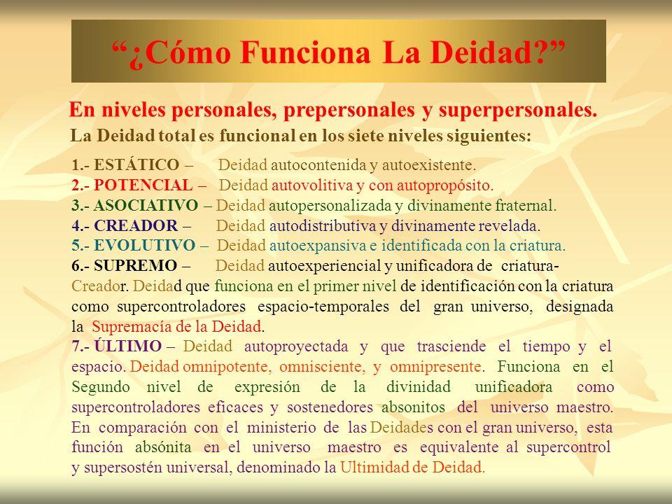 ¿Cómo Funciona La Deidad? En niveles personales, prepersonales y superpersonales. La Deidad total es funcional en los siete niveles siguientes: 1.- ES