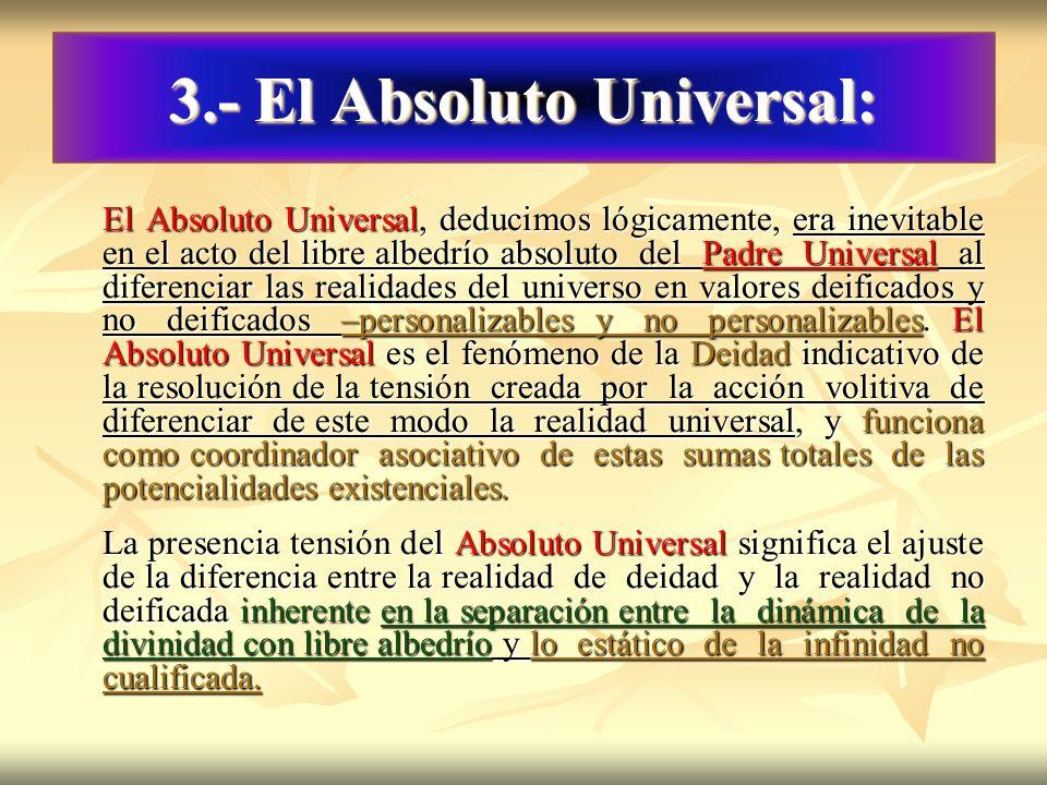 3.- El Absoluto Universal: El Absoluto Universal, deducimos lógicamente, era inevitable en el acto del libre albedrío absoluto del Padre Universal al