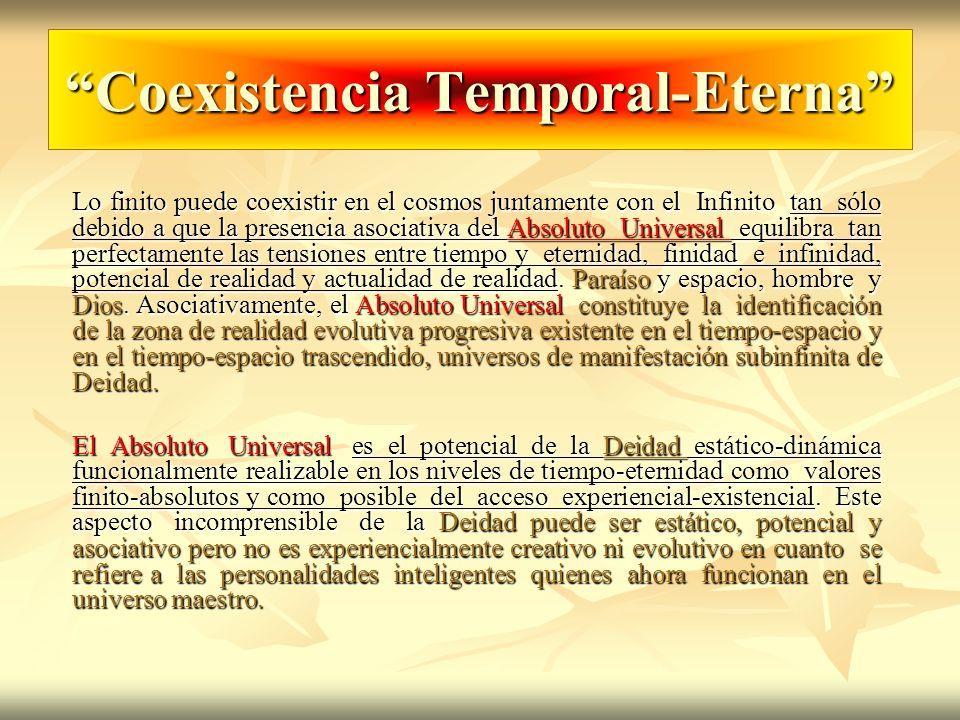 Coexistencia Temporal-Eterna Lo finito puede coexistir en el cosmos juntamente con el Infinito tan sólo debido a que la presencia asociativa del Absol