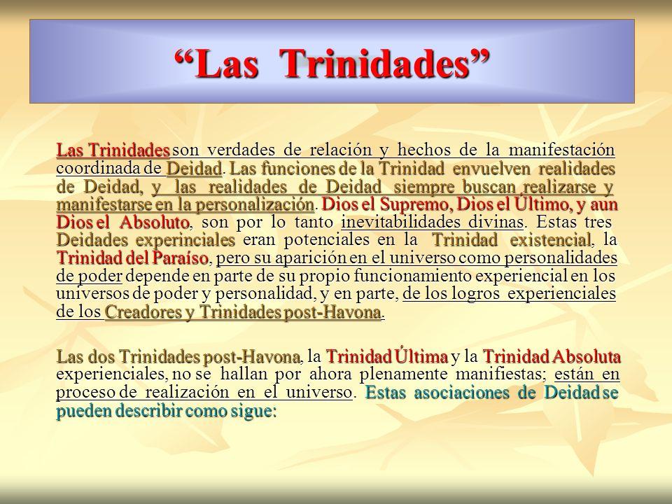 Las Trinidades Las Trinidades son verdades de relación y hechos de la manifestación coordinada de Deidad. Las funciones de la Trinidad envuelven reali