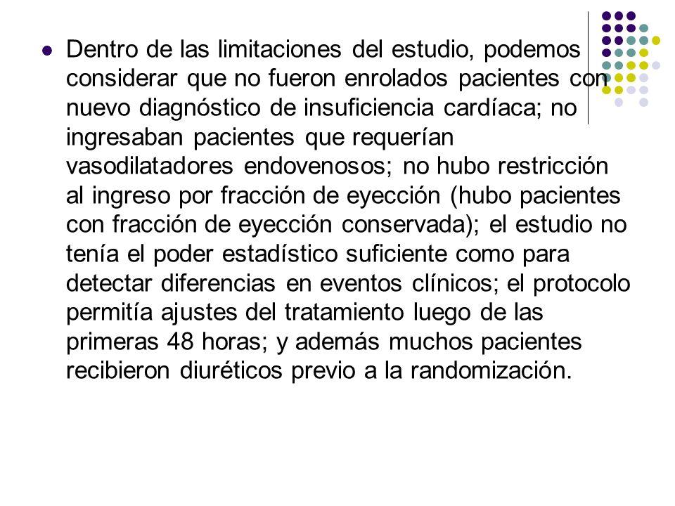 Dentro de las limitaciones del estudio, podemos considerar que no fueron enrolados pacientes con nuevo diagnóstico de insuficiencia cardíaca; no ingre
