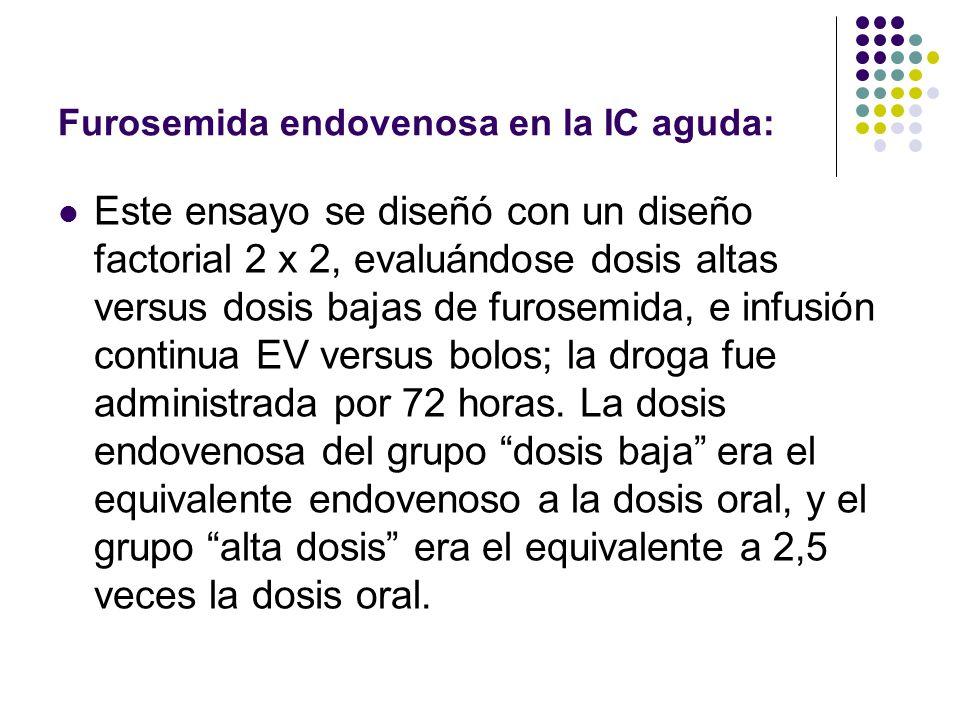Furosemida endovenosa en la IC aguda: Este ensayo se diseñó con un diseño factorial 2 x 2, evaluándose dosis altas versus dosis bajas de furosemida, e