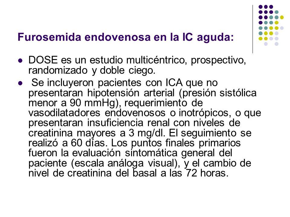 Furosemida endovenosa en la IC aguda: DOSE es un estudio multicéntrico, prospectivo, randomizado y doble ciego. Se incluyeron pacientes con ICA que no