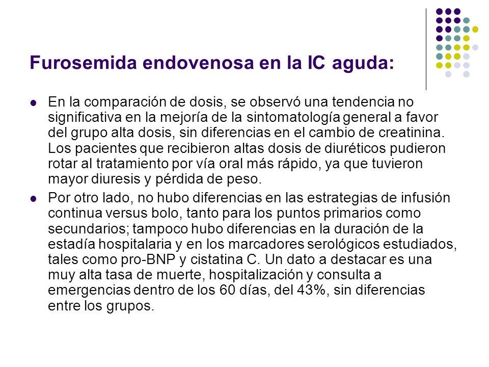 Furosemida endovenosa en la IC aguda: En la comparación de dosis, se observó una tendencia no significativa en la mejoría de la sintomatología general