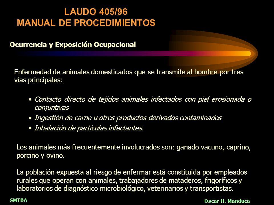 SMTBA Oscar H. Manduca Contacto directo de tejidos animales infectados con piel erosionada o conjuntivas Ingestión de carne u otros productos derivado