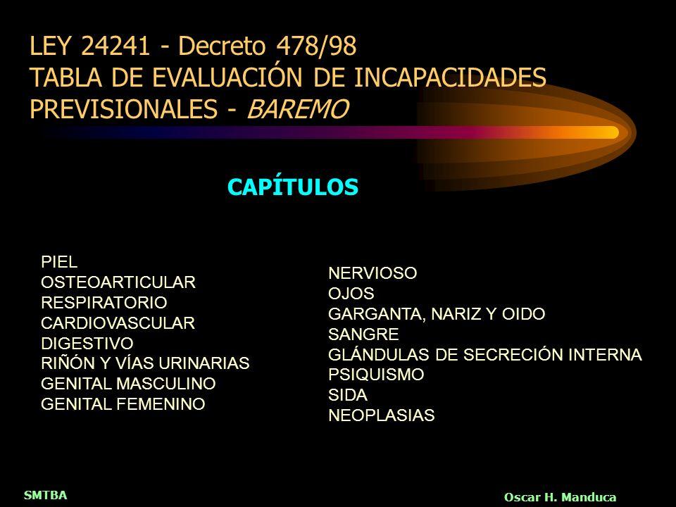 SMTBA Oscar H. Manduca LEY 24241 - Decreto 478/98 TABLA DE EVALUACIÓN DE INCAPACIDADES PREVISIONALES - BAREMO PIEL OSTEOARTICULAR RESPIRATORIO CARDIOV