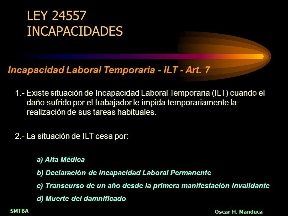 SMTBA Oscar H. Manduca LEY 24557 INCAPACIDADES 1.- Existe situación de Incapacidad Laboral Temporaria (ILT) cuando el daño sufrido por el trabajador l