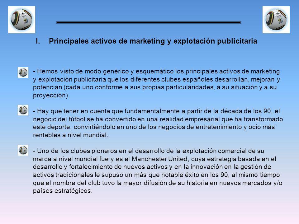 - Hemos visto de modo genérico y esquemático los principales activos de marketing y explotación publicitaria que los diferentes clubes españoles desar