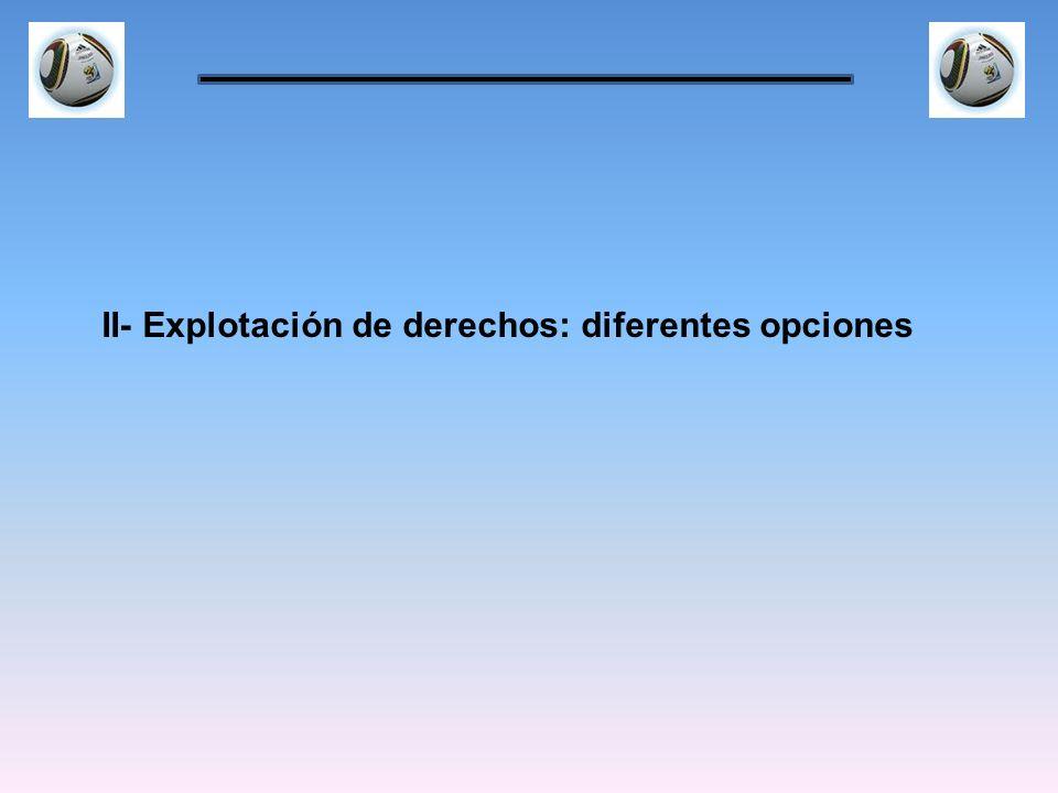 II- Explotación de derechos: diferentes opciones