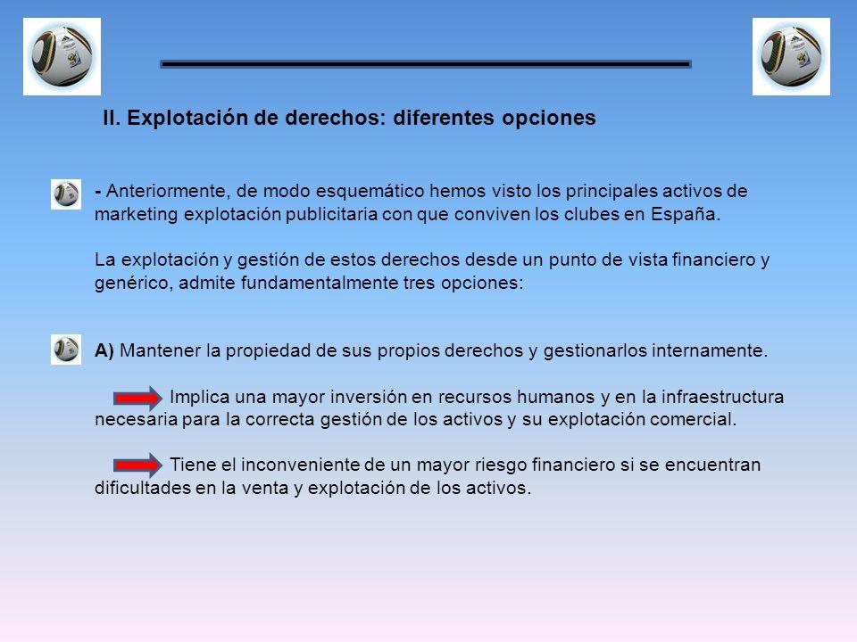 - Anteriormente, de modo esquemático hemos visto los principales activos de marketing explotación publicitaria con que conviven los clubes en España.