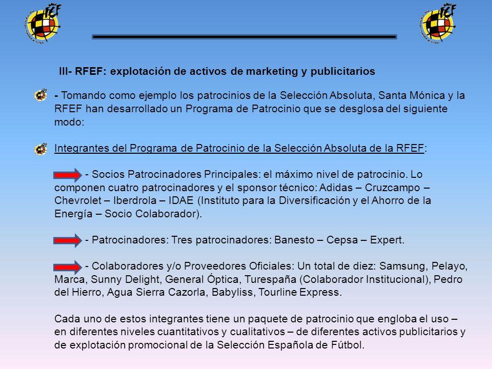 - Tomando como ejemplo los patrocinios de la Selección Absoluta, Santa Mónica y la RFEF han desarrollado un Programa de Patrocinio que se desglosa del