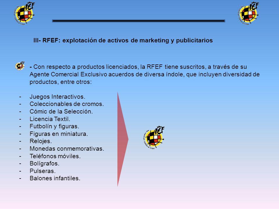 - Con respecto a productos licenciados, la RFEF tiene suscritos, a través de su Agente Comercial Exclusivo acuerdos de diversa índole, que incluyen di