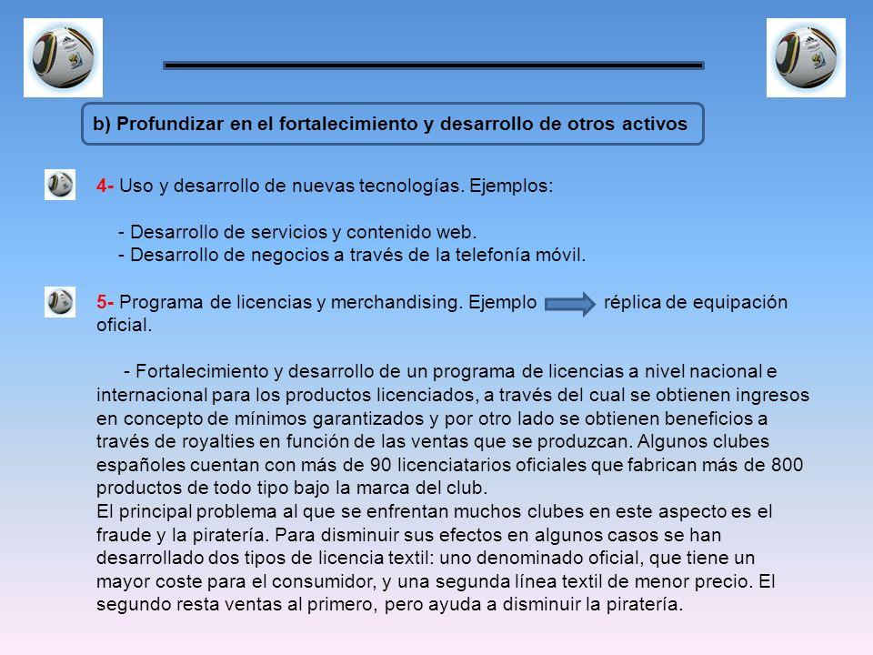 b) Profundizar en el fortalecimiento y desarrollo de otros activos 4- Uso y desarrollo de nuevas tecnologías. Ejemplos: - Desarrollo de servicios y co