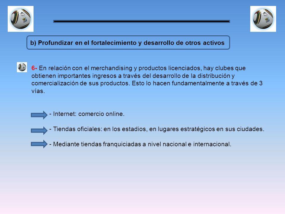 b) Profundizar en el fortalecimiento y desarrollo de otros activos 6- En relación con el merchandising y productos licenciados, hay clubes que obtiene