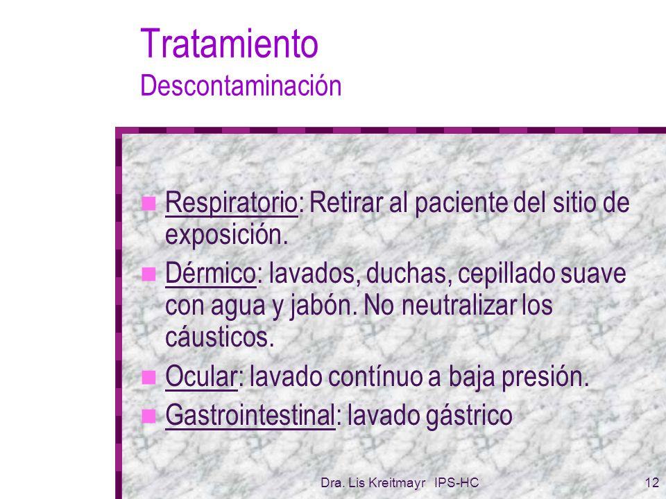 Dra. Lis Kreitmayr IPS-HC12 Tratamiento Descontaminación Respiratorio: Retirar al paciente del sitio de exposición. Dérmico: lavados, duchas, cepillad