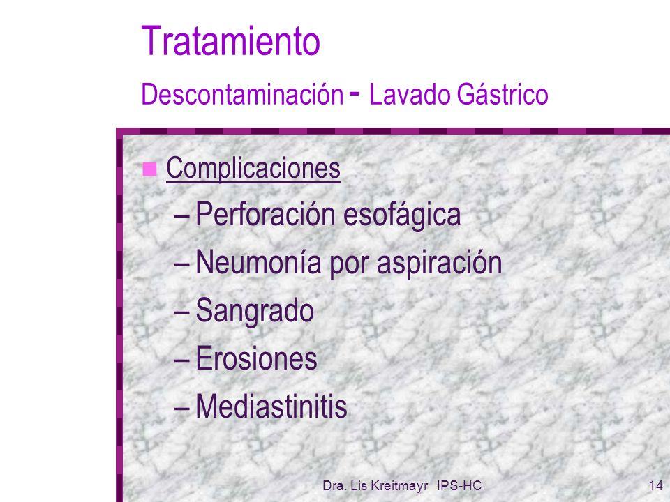 Dra. Lis Kreitmayr IPS-HC14 Tratamiento Descontaminación - Lavado Gástrico Complicaciones –Perforación esofágica –Neumonía por aspiración –Sangrado –E