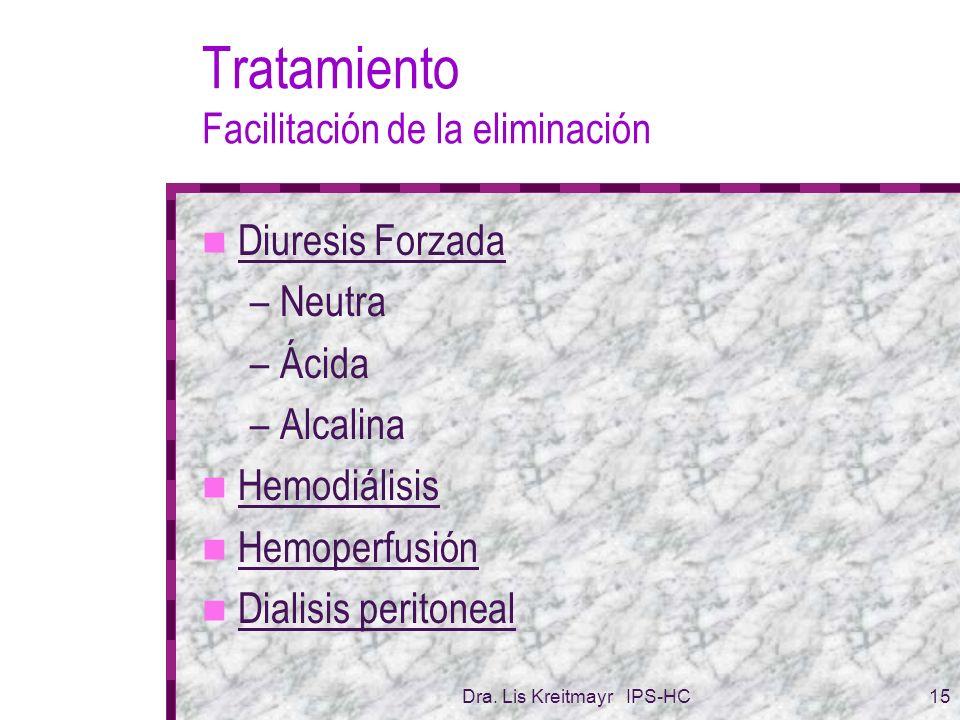 Dra. Lis Kreitmayr IPS-HC15 Tratamiento Facilitación de la eliminación Diuresis Forzada –Neutra –Ácida –Alcalina Hemodiálisis Hemoperfusión Dialisis p