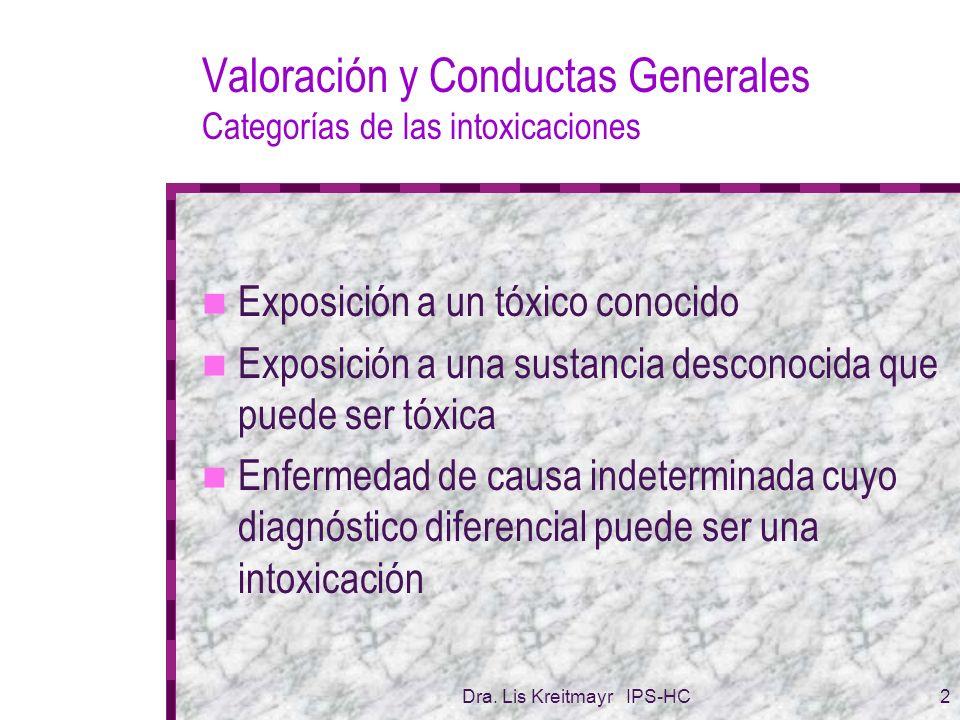 Dra. Lis Kreitmayr IPS-HC2 Valoración y Conductas Generales Categorías de las intoxicaciones Exposición a un tóxico conocido Exposición a una sustanci