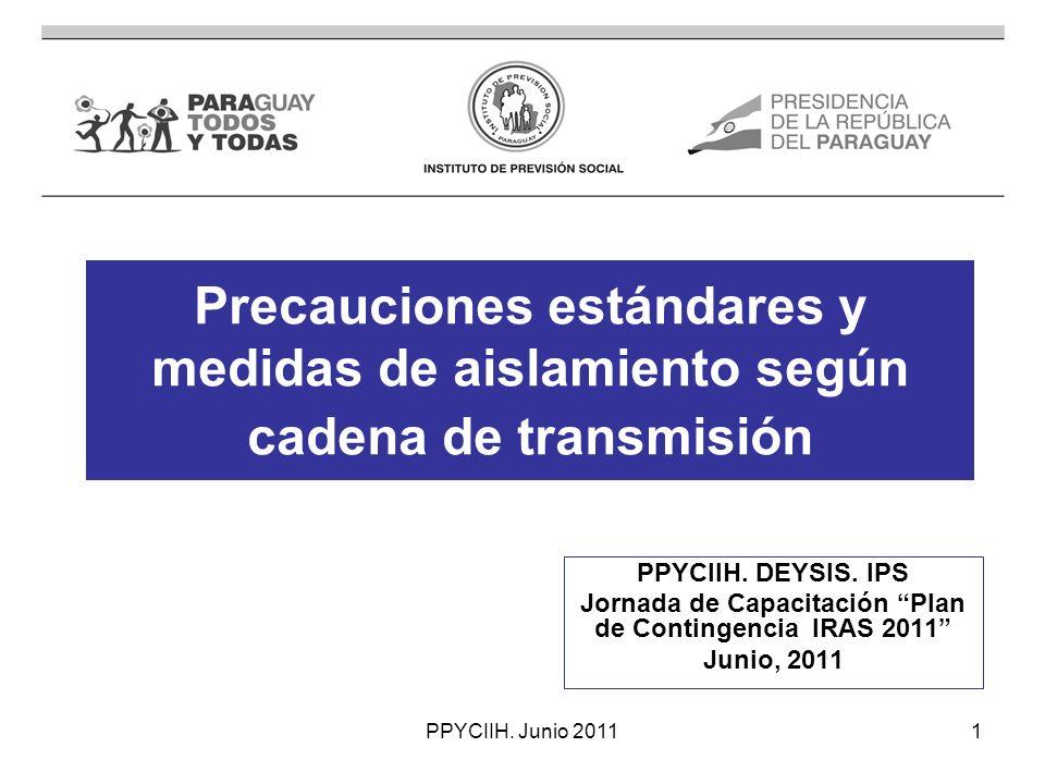 PPYCIIH.Junio 201112 Precauciones de contacto.