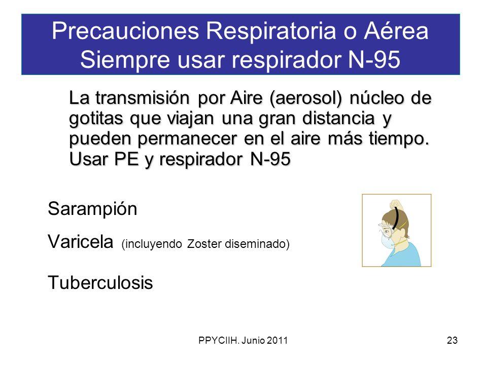 PPYCIIH. Junio 201123 Precauciones Respiratoria o Aérea Siempre usar respirador N-95 La transmisión por Aire (aerosol) núcleo de gotitas que viajan un