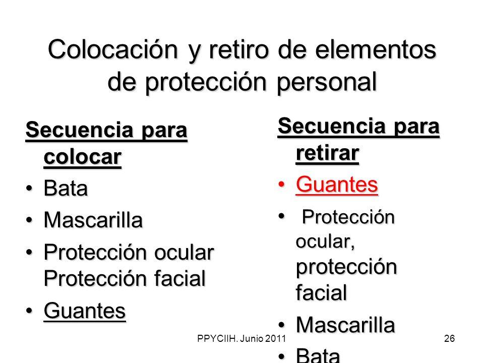 PPYCIIH. Junio 201126 Colocación y retiro de elementos de protección personal Secuencia para retirar GuantesGuantes Protección ocular, protección faci