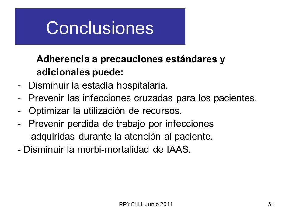 PPYCIIH. Junio 201131 Conclusiones Adherencia a precauciones estándares y adicionales puede: -Disminuir la estadía hospitalaria. -Prevenir las infecci