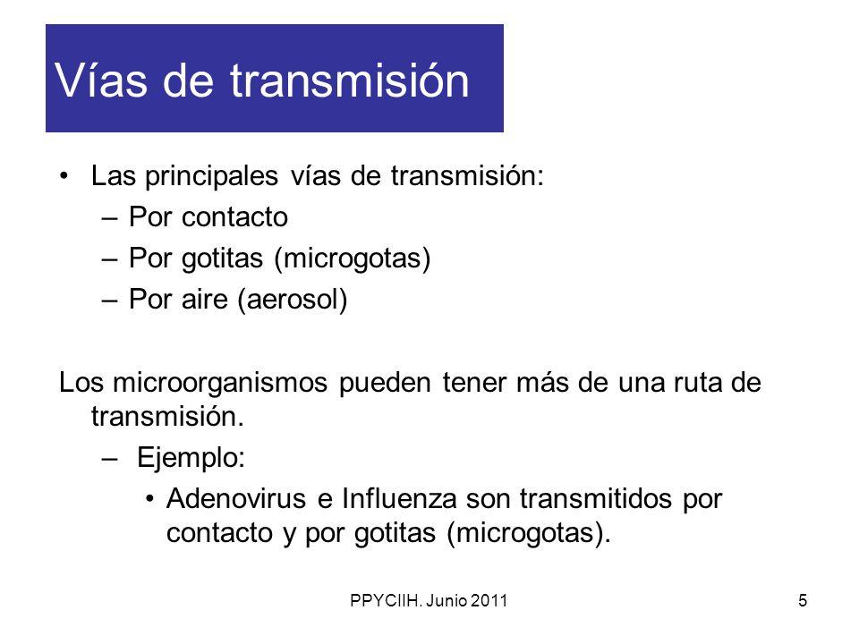 PPYCIIH. Junio 20115 Vías de transmisión Las principales vías de transmisión: –Por contacto –Por gotitas (microgotas) –Por aire (aerosol) Los microorg