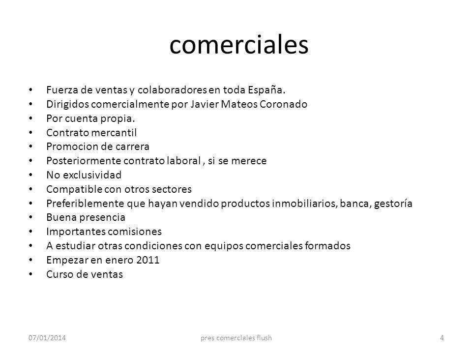 comerciales Fuerza de ventas y colaboradores en toda España. Dirigidos comercialmente por Javier Mateos Coronado Por cuenta propia. Contrato mercantil