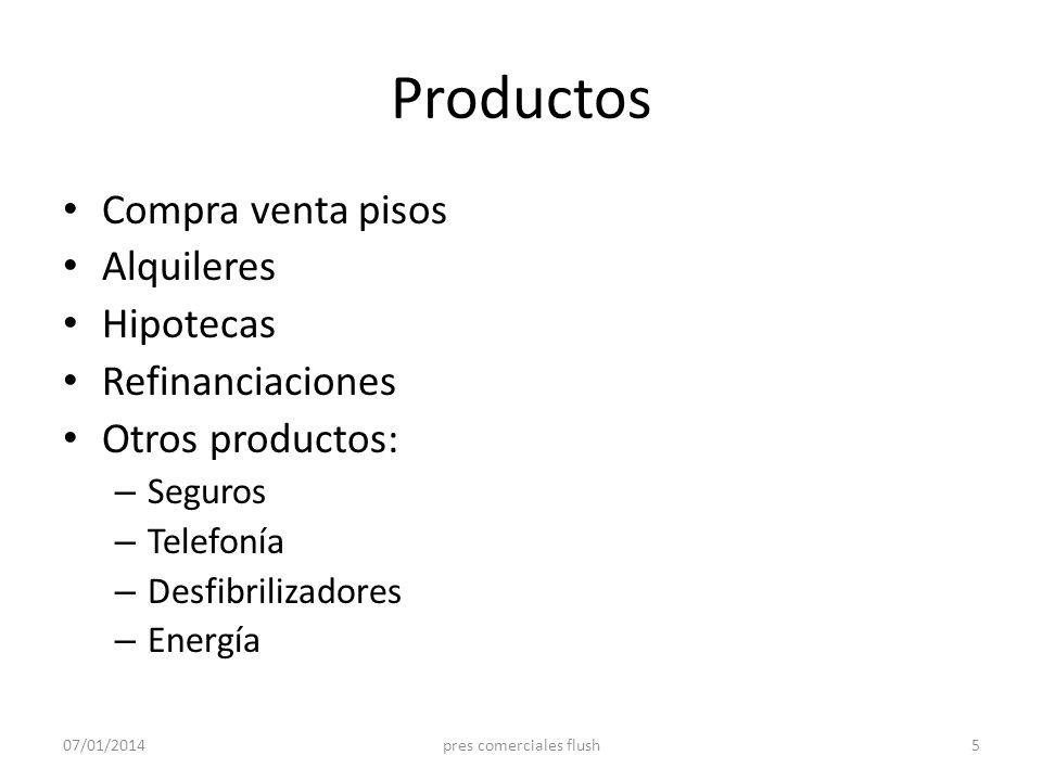 Productos Compra venta pisos Alquileres Hipotecas Refinanciaciones Otros productos: – Seguros – Telefonía – Desfibrilizadores – Energía 07/01/20145pre