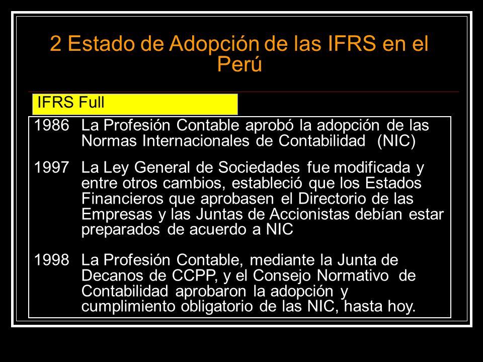 a)No se han aprobado a la fecha, sin embargo, las empresas (grandes o chicas) siguen con la obligación de aplicar IFRS Completas b)Hay una Propuesta de la Profesión Contable y el Consejo Normativo de Contabilidad para determinar cuales empresas, dentro del Grupo que no cotizan en Bolsa, estarían sujetos a NIIF para PYMES a partir del 1/1/2012.