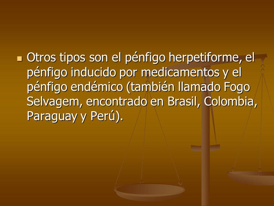 Otros tipos son el pénfigo herpetiforme, el pénfigo inducido por medicamentos y el pénfigo endémico (también llamado Fogo Selvagem, encontrado en Brasil, Colombia, Paraguay y Perú).