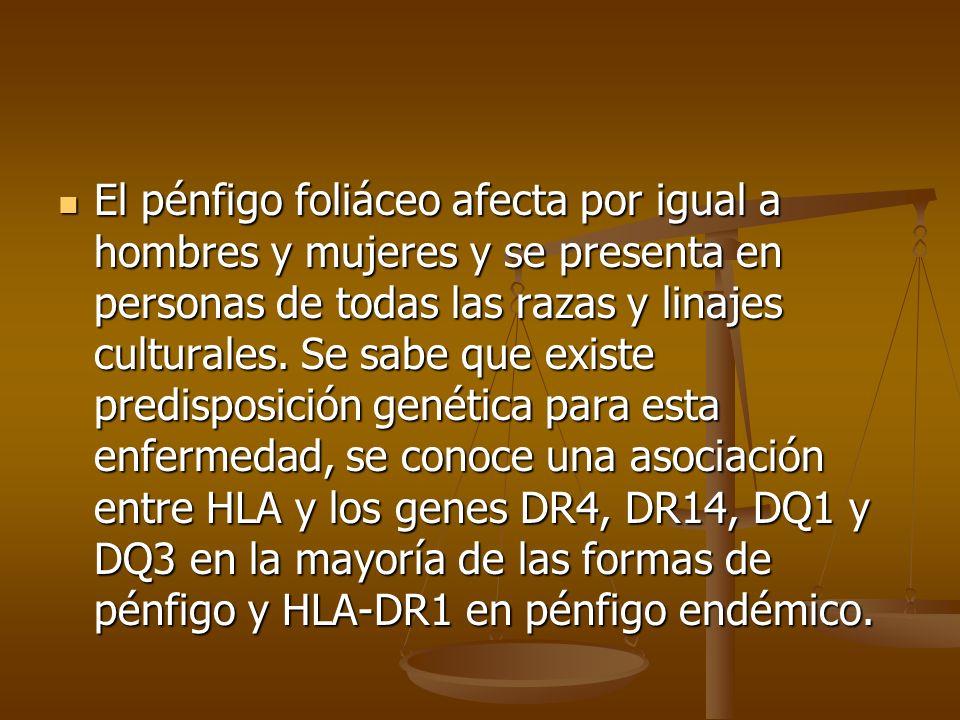 El pénfigo foliáceo afecta por igual a hombres y mujeres y se presenta en personas de todas las razas y linajes culturales. Se sabe que existe predisp