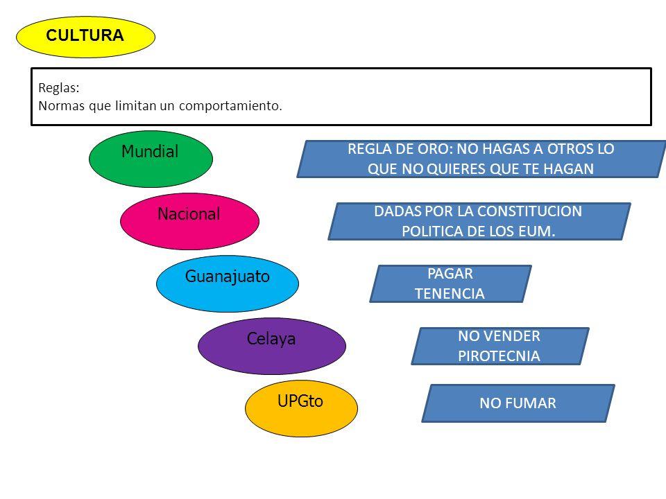 Reglas: Normas que limitan un comportamiento. Mundial CULTURA Celaya Guanajuato Nacional REGLA DE ORO: NO HAGAS A OTROS LO QUE NO QUIERES QUE TE HAGAN
